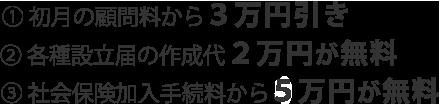 1.初月の顧問料から3万円引き 2.各種設立届の作成代2万円が無料 3.社会保険加入手続料から5万円が無料
