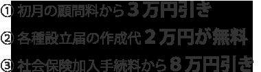 1.初月の顧問料から3万円引き 2.各種設立届の作成代2万円が無料 3.社会保険加入手続料から8万円が無料